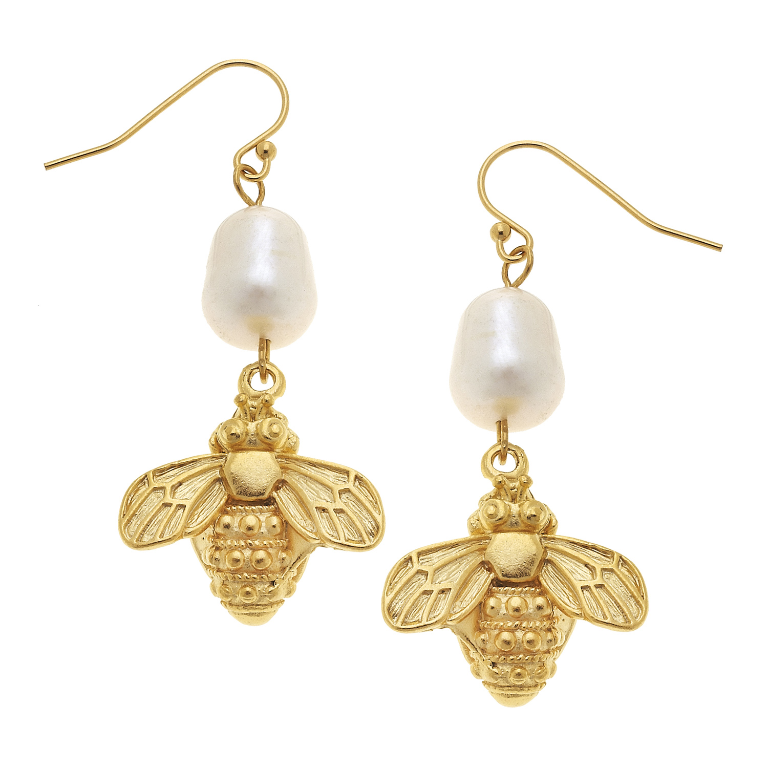 Susan Shaw - Golden Drop Bee Earrings