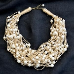 Faux Pearl Multi Strand Necklace