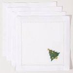 Set of 4 Ornament Tree Cocktail Napkins