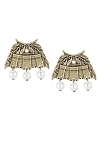 French Kande Brass Chateau Earrings with Pearl Dangles