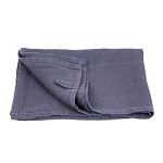 Medium Thick Linen Hand Towel - Stonewashed - Charcoal with Dot Hemstitch