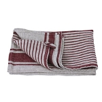 Luxury Thick Linen Hand Towel - Stonewashed - Grey Bordeaux Stripes