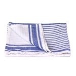 Linen Hand Towel - Stonewashed - White with Light Blue Stripes