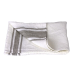 Luxury Thick Linen Hand Towel - Stonewashed - White with Natural Stripes