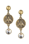 French Kande Brass Mini Abeille Medallion & Brass Crystal Swarovski Rivoli