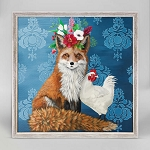 Fox and Rooster Mini Framed Canvas