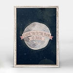 I Love You To The Moon Pink Mini Framed Canvas