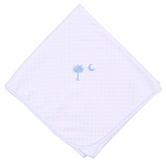 Magnolia Baby Palmetto Baby Embroidered Blanket LIght Blue