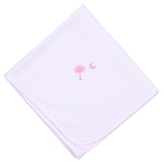 Magnolia Baby Palmetto Baby Embroidered Blanket Pink