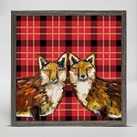 Tartan Fox Duo Mini Framed Canvas