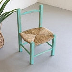 Hand Made Wood with Rush Seat Market Chair - Green