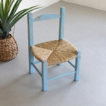 Hand Made Wood with Rush Seat Market Chair - Blue