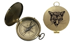 Brass Flat Compass with Fox Lid