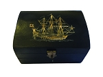 Pirate Ship Black & Red Wood Box