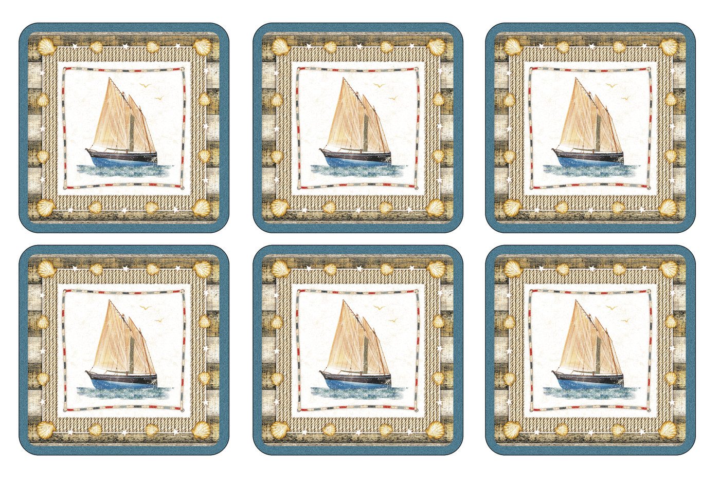 Coastal Breeze Coasters Set of 6 - Pimpernel
