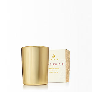 Thymes Frasier Fir Gilded Votive Candle, Gold