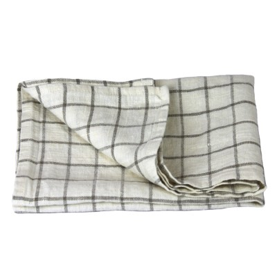 Linen Hand Towel - Stonewashed - White with Natural Squares