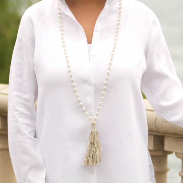 Faux Pearl, Natural Fabric Tassel Necklace