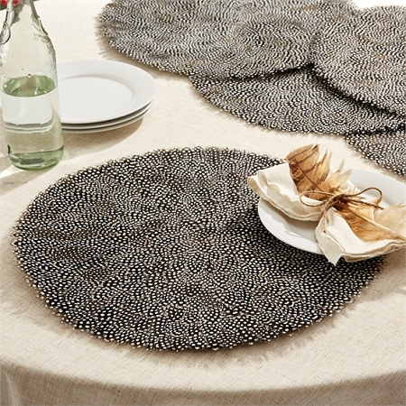 Guinea Fowl Feather Placemat, Set of 6