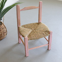 Handmade Wood with Rush Seat Market Chair - Pink