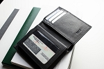 Black Slimfold Passcase Wallet - Kiko Leather