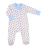 Magnolia Baby Football Fan Printed Zipped Footie - Blue