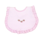 Magnolia Baby Pink Football Fan Embroidered Ruffle Bib