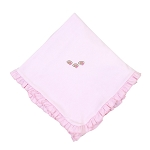 Magnolia Baby Football Fan Ruffled Receiving Blanket - Pink