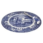 Portmeirion Blue Italian Cheese Plate and Knife