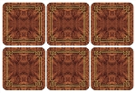 Walnut Burlap Coasters Set of 6 - Pimpernel