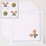 Assorted Set of 4 Tennis Cocktail Napkins