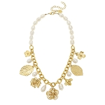 Susan Shaw - Golden Multi Flower & Leaf Pearl Necklace