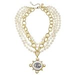 Susan Shaw - Golden & Silver 4 Strand Pearl Necklace