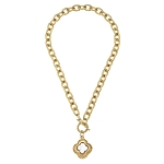 Susan Shaw - Golden Clover & Pearl Toggle Necklace