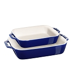 Staub 2-Piece Rectangular Baking Dish Set | Dark Blue