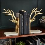 Two's Company Golden Antler Bookends