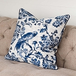 Blue Down Filled Bird Toile Pillow
