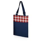 Vista Outdoor Blanket Tote - Navy with Red Check