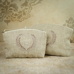 Crown Linen Make Up Bag, Set of 2