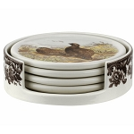 Spode Woodlands 4 Piece Ceramic Coaster Set with Holder