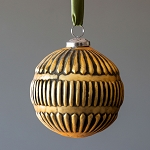 Antique Gold Line Pattern Mercury Glass Ornament, Large - Park Hill