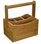 Bamboo Flatware Caddy with Folding Handle