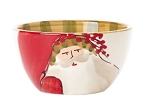 Vietri Old St. Nick Cereal Bowls - Striped Hat