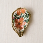 Grit & Grace Jungle Hibiscus Decoupage Oyster Ring Dish