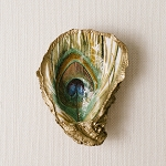 Grit & Grace Serenity Decoupage Oyster Ring Dish Peacock Feather